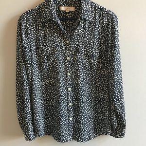 Loft navy floral print button down blouse